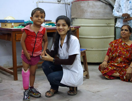 Child with new prosthetic leg